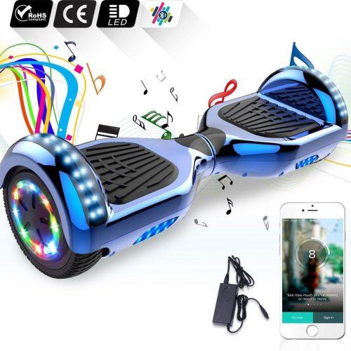6.5 inch Hoverboard met Flits Wielen + TAOTAO moederbord, Bluetooth Speaker,LED verlichting - Blauw Chroom