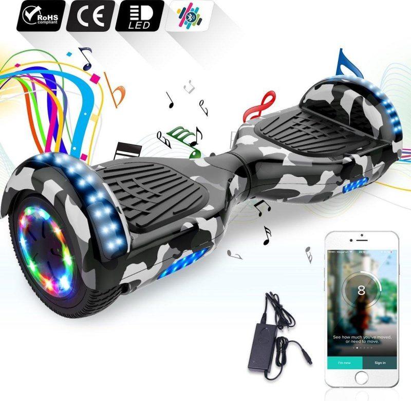 6.5 inch Hoverboard met Flits Wielen + TAOTAO moederbord,Bluetooth Speaker,LED verlichting - Camouflage