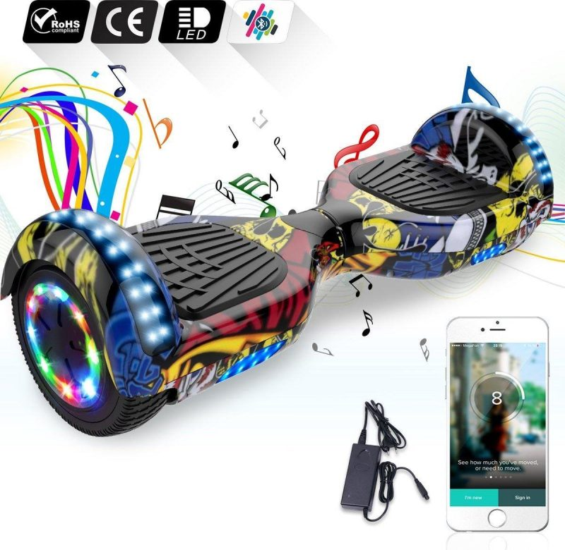 6.5 inch Hoverboard met Flits Wielen + TAOTAO moederbord,Bluetooth Speaker,LED verlichting - Hiphop