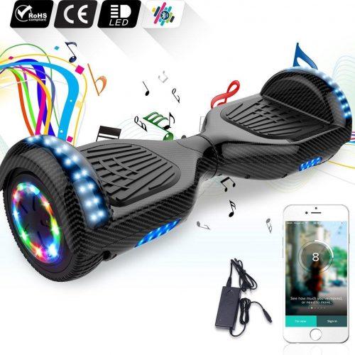 6.5 inch Hoverboard met Flits Wielen + TAOTAO moederbord,Bluetooth Speaker,LED verlichting- Koolzwart