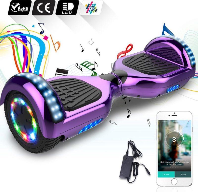 6.5 inch Hoverboard met Flits Wielen + TAOTAO moederbord,Bluetooth Speaker,LED verlichting - Paars Chroom