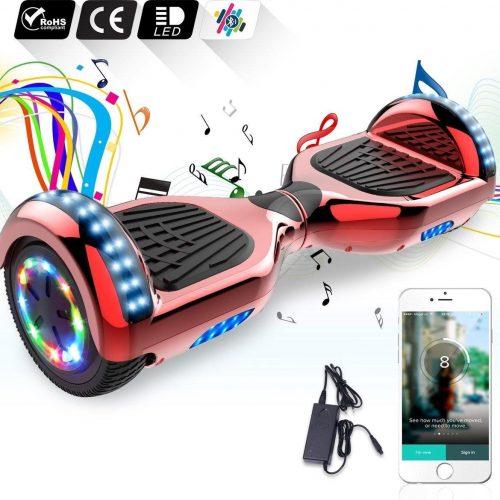 6.5 inch Hoverboard met Flits Wielen + TAOTAO moederbord,Bluetooth Speaker,LED verlichting - Rood Chroom