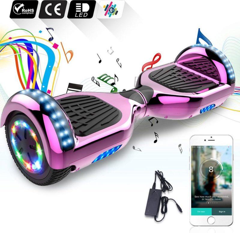 6.5 inch Hoverboard met Flits Wielen + TAOTAO moederbord,Bluetooth Speaker,LED verlichting - Roze Chroom