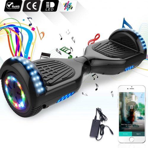 6.5 inch Hoverboard met Flits Wielen + TAOTAO moederbord,Bluetooth Speaker,LED verlichting - Zwart