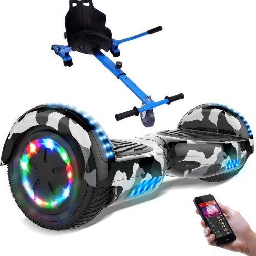 Evercross 6.5 inch Hoverboard met Flits Wielen + TAOTAO moederbord, Elektrische Zelfbalancerende Scooter,Bluetooth Speaker,LED verlichting - Camouflage + Hoverkart Blauw