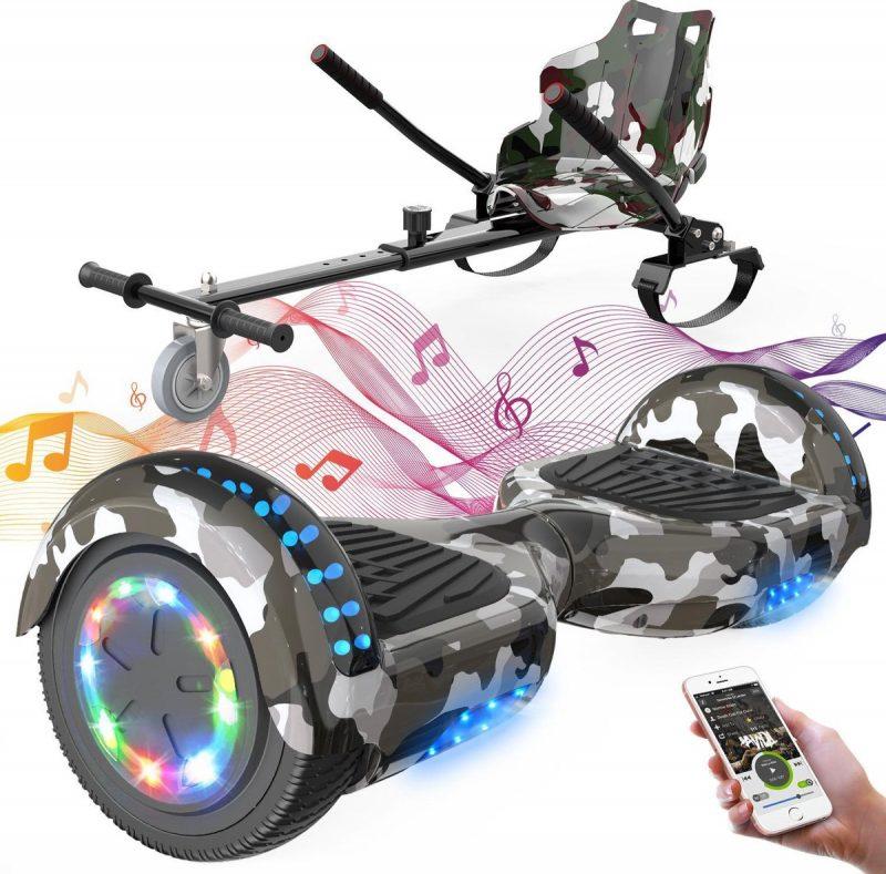 Evercross 6.5 inch Hoverboard met Flits Wielen + TAOTAO moederbord, Elektrische Zelfbalancerende Scooter,Bluetooth Speaker,LED verlichting - Camouflage + Hoverkart Camouflage