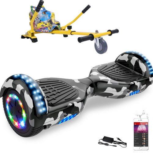 Evercross 6.5 inch Hoverboard met Flits Wielen + TAOTAO moederbord, Elektrische Zelfbalancerende Scooter,Bluetooth Speaker,LED verlichting - Camouflage + Hoverkart Hiphop