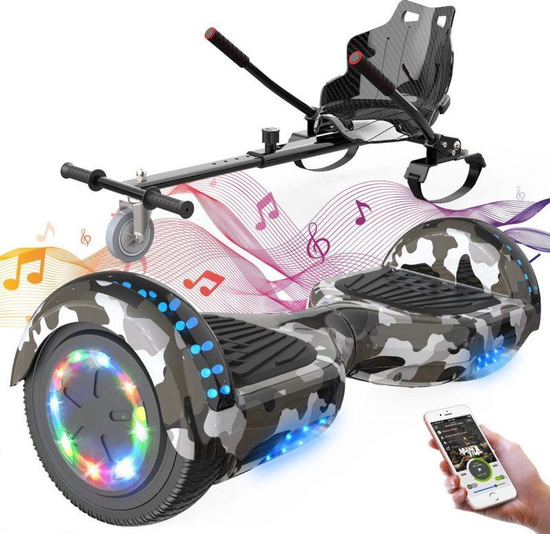 Evercross 6.5 inch Hoverboard met Flits Wielen + TAOTAO moederbord, Elektrische Zelfbalancerende Scooter,Bluetooth Speaker,LED verlichting - Camouflage + Hoverkart Zwart