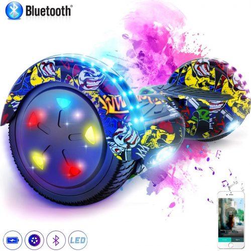 Evercross 6.5 inch Hoverboard met Flits Wielen + TAOTAO moederbord, Elektrische Zelfbalancerende Scooter,Bluetooth Speaker,LED verlichting - Hiphop