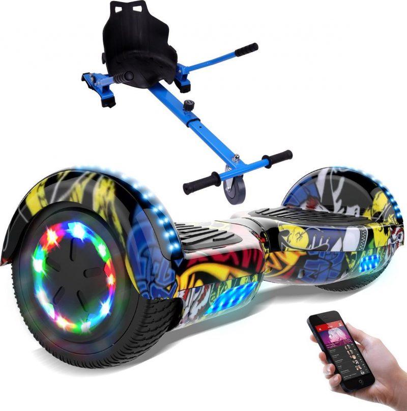 Evercross 6.5 inch Hoverboard met Flits Wielen + TAOTAO moederbord, Elektrische Zelfbalancerende Scooter,Bluetooth Speaker,LED verlichting - Hiphop + Hoverkart Blauw