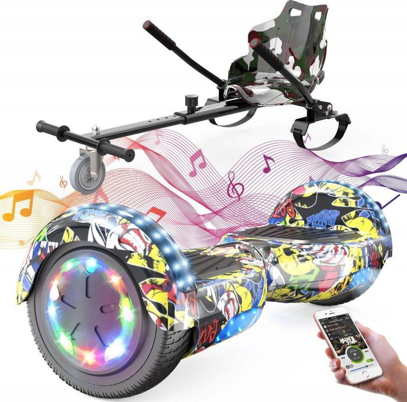Evercross 6.5 inch Hoverboard met Flits Wielen + TAOTAO moederbord, Elektrische Zelfbalancerende Scooter,Bluetooth Speaker,LED verlichting - Hiphop + Hoverkart Camouflage
