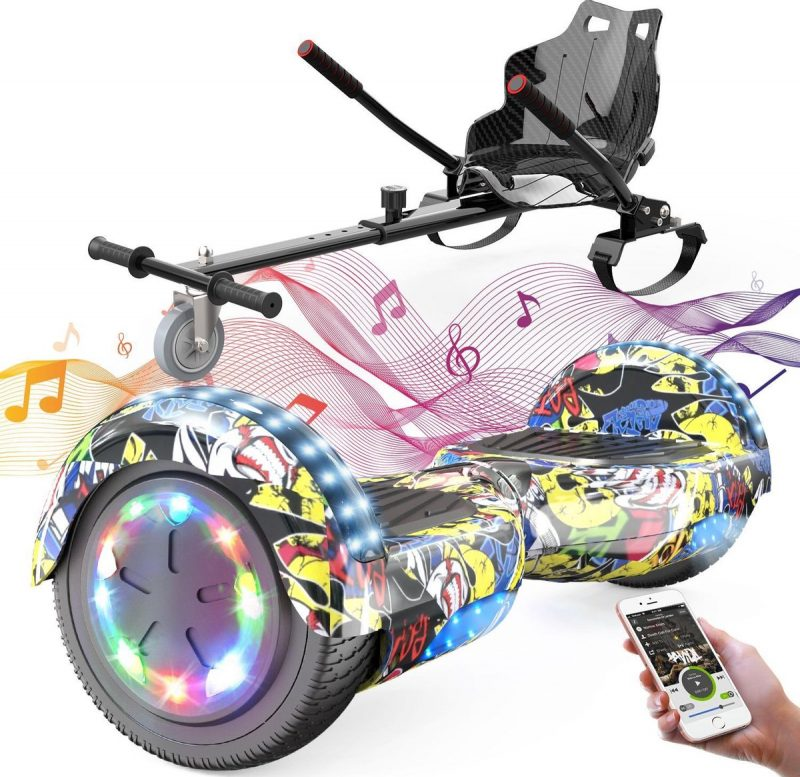 Evercross 6.5 inch Hoverboard met Flits Wielen + TAOTAO moederbord, Elektrische Zelfbalancerende Scooter,Bluetooth Speaker,LED verlichting - Hiphop + Hoverkart Zwart