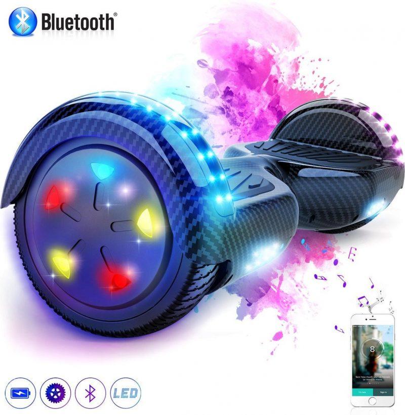 Evercross 6.5 inch Hoverboard met Flits Wielen + TAOTAO moederbord, Elektrische Zelfbalancerende Scooter,Bluetooth Speaker,LED verlichting - Koolzwart