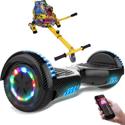 Evercross 6.5 inch Hoverboard met Flits Wielen + TAOTAO moederbord, Elektrische Zelfbalancerende Scooter,Bluetooth Speaker,LED verlichting - Koolzwart + Hoverkart Hiphop