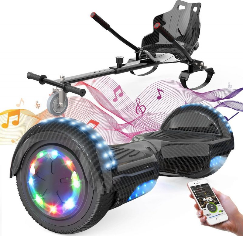 Evercross 6.5 inch Hoverboard met Flits Wielen + TAOTAO moederbord, Elektrische Zelfbalancerende Scooter,Bluetooth Speaker,LED verlichting - Koolzwart + Hoverkart Zwart