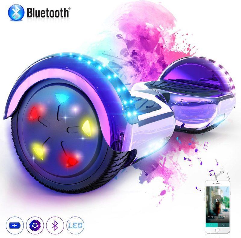Evercross 6.5 inch Hoverboard met Flits Wielen + TAOTAO moederbord, Elektrische Zelfbalancerende Scooter,Bluetooth Speaker,LED verlichting - Paars Chroom