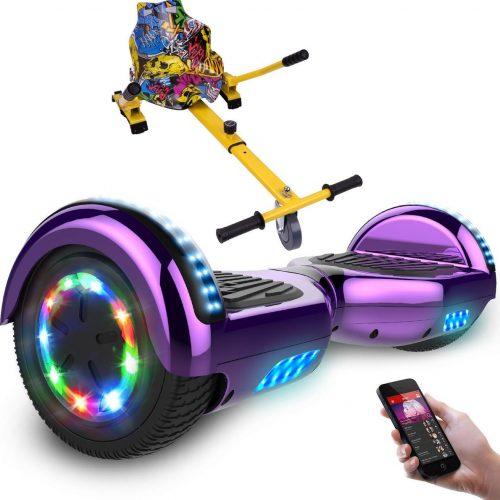 Evercross 6.5 inch Hoverboard met Flits Wielen + TAOTAO moederbord, Elektrische Zelfbalancerende Scooter,Bluetooth Speaker,LED verlichting - Paars Chroom + Hoverkart Hiphop