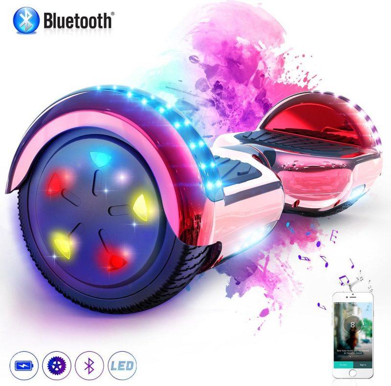 Evercross 6.5 inch Hoverboard met Flits Wielen + TAOTAO moederbord, Elektrische Zelfbalancerende Scooter,Bluetooth Speaker,LED verlichting - Rood Chroom