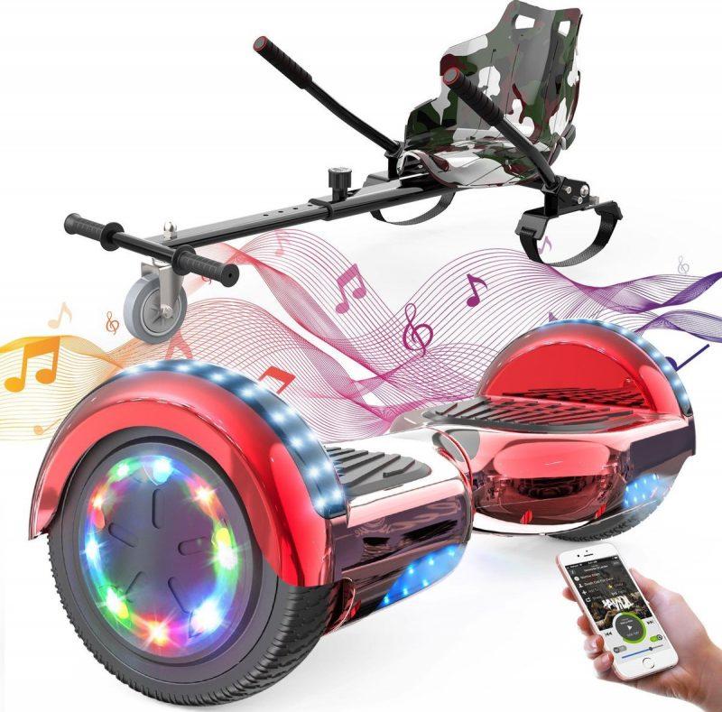 Evercross 6.5 inch Hoverboard met Flits Wielen + TAOTAO moederbord, Elektrische Zelfbalancerende Scooter,Bluetooth Speaker,LED verlichting - Rood Chroom + Hoverkart Camouflage