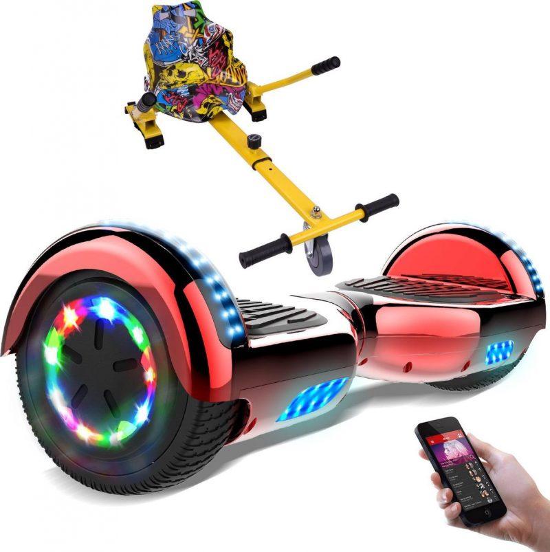 Evercross 6.5 inch Hoverboard met Flits Wielen + TAOTAO moederbord, Elektrische Zelfbalancerende Scooter,Bluetooth Speaker,LED verlichting - Rood Chroom + Hoverkart Hiphop