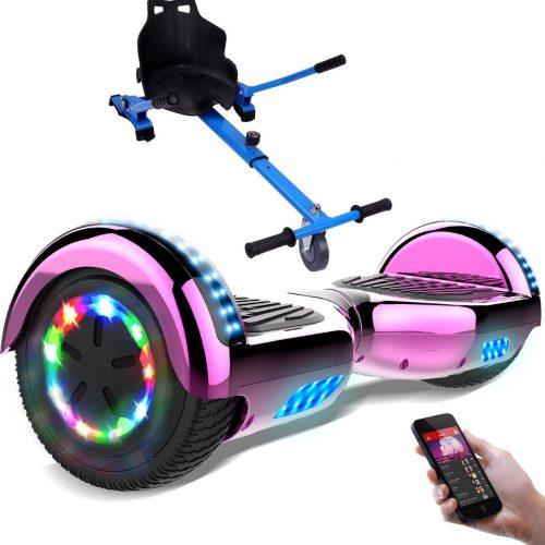 Evercross 6.5 inch Hoverboard met Flits Wielen + TAOTAO moederbord, Elektrische Zelfbalancerende Scooter,Bluetooth Speaker,LED verlichting - Roze Chroom + Hoverkart Blauw
