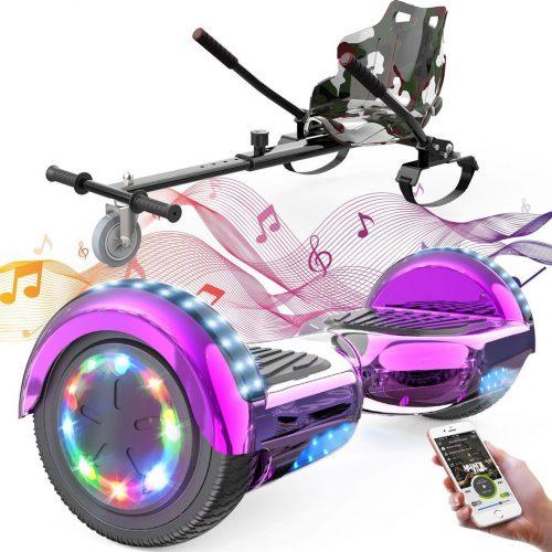 Evercross 6.5 inch Hoverboard met Flits Wielen + TAOTAO moederbord, Elektrische Zelfbalancerende Scooter,Bluetooth Speaker,LED verlichting - Roze Chroom + Hoverkart Camouflage