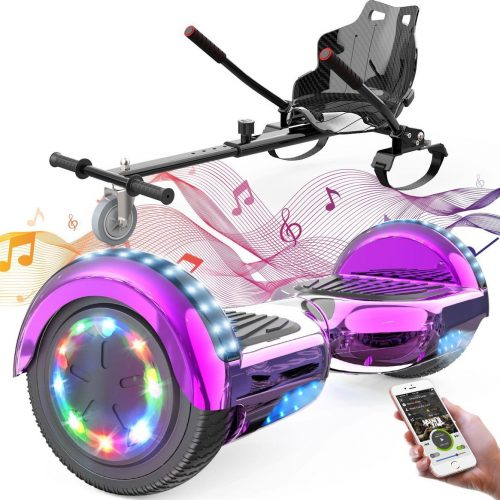 Evercross 6.5 inch Hoverboard met Flits Wielen + TAOTAO moederbord, Elektrische Zelfbalancerende Scooter,Bluetooth Speaker,LED verlichting - Roze Chroom + Hoverkart Zwart