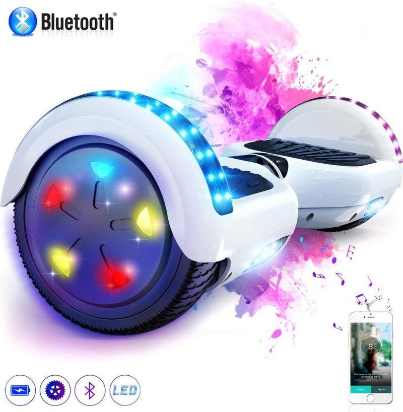 Evercross 6.5 inch Hoverboard met Flits Wielen + TAOTAO moederbord, Elektrische Zelfbalancerende Scooter,Bluetooth Speaker,LED verlichting - Wit
