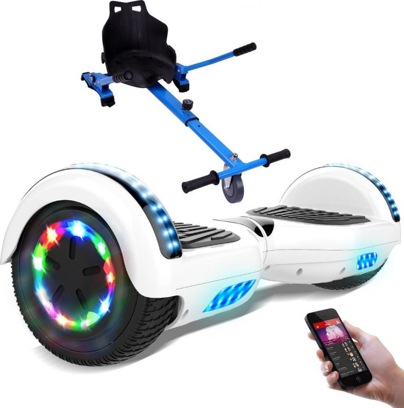 Evercross 6.5 inch Hoverboard met Flits Wielen + TAOTAO moederbord, Elektrische Zelfbalancerende Scooter,Bluetooth Speaker,LED verlichting - Wit + Hoverkart Blauw