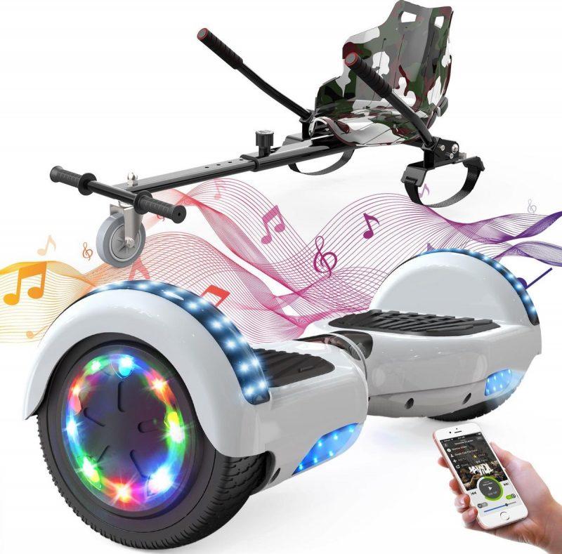 Evercross 6.5 inch Hoverboard met Flits Wielen + TAOTAO moederbord, Elektrische Zelfbalancerende Scooter,Bluetooth Speaker,LED verlichting - Wit + Hoverkart Camouflage