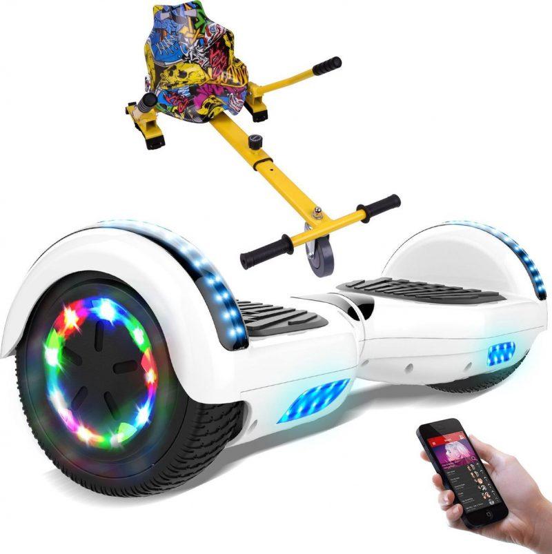 Evercross 6.5 inch Hoverboard met Flits Wielen + TAOTAO moederbord, Elektrische Zelfbalancerende Scooter,Bluetooth Speaker,LED verlichting - Wit + Hoverkart Hiphop