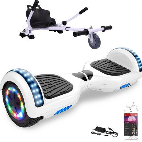 Evercross 6.5 inch Hoverboard met Flits Wielen + TAOTAO moederbord, Elektrische Zelfbalancerende Scooter,Bluetooth Speaker,LED verlichting - Wit + Hoverkart Wit