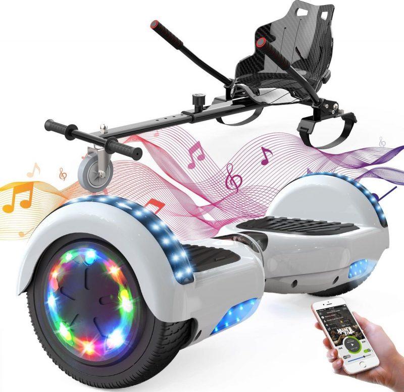 Evercross 6.5 inch Hoverboard met Flits Wielen + TAOTAO moederbord, Elektrische Zelfbalancerende Scooter,Bluetooth Speaker,LED verlichting - Wit + Hoverkart Zwart