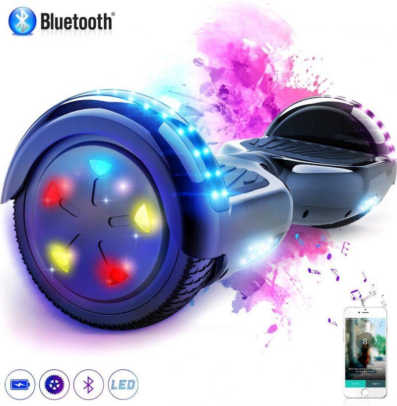 Evercross 6.5 inch Hoverboard met Flits Wielen + TAOTAO moederbord, Elektrische Zelfbalancerende Scooter,Bluetooth Speaker,LED verlichting - Zwart