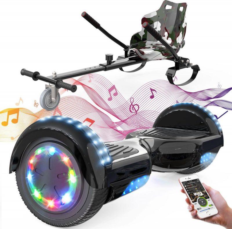 Evercross 6.5 inch Hoverboard met Flits Wielen + TAOTAO moederbord, Elektrische Zelfbalancerende Scooter,Bluetooth Speaker,LED verlichting - Zwart + Hoverkart Camouflage