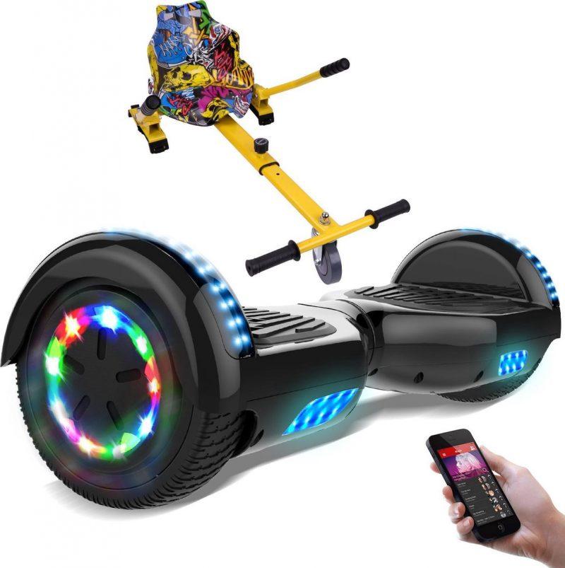 Evercross 6.5 inch Hoverboard met Flits Wielen + TAOTAO moederbord, Elektrische Zelfbalancerende Scooter,Bluetooth Speaker,LED verlichting - Zwart + Hoverkart Hiphop