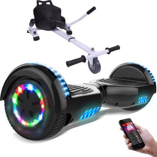 Evercross 6.5 inch Hoverboard met Flits Wielen + TAOTAO moederbord, Elektrische Zelfbalancerende Scooter,Bluetooth Speaker,LED verlichting - Zwart + Hoverkart Wit
