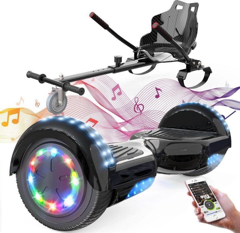 Evercross 6.5 inch Hoverboard met Flits Wielen + TAOTAO moederbord, Elektrische Zelfbalancerende Scooter,Bluetooth Speaker,LED verlichting - Zwart + Hoverkart Zwart