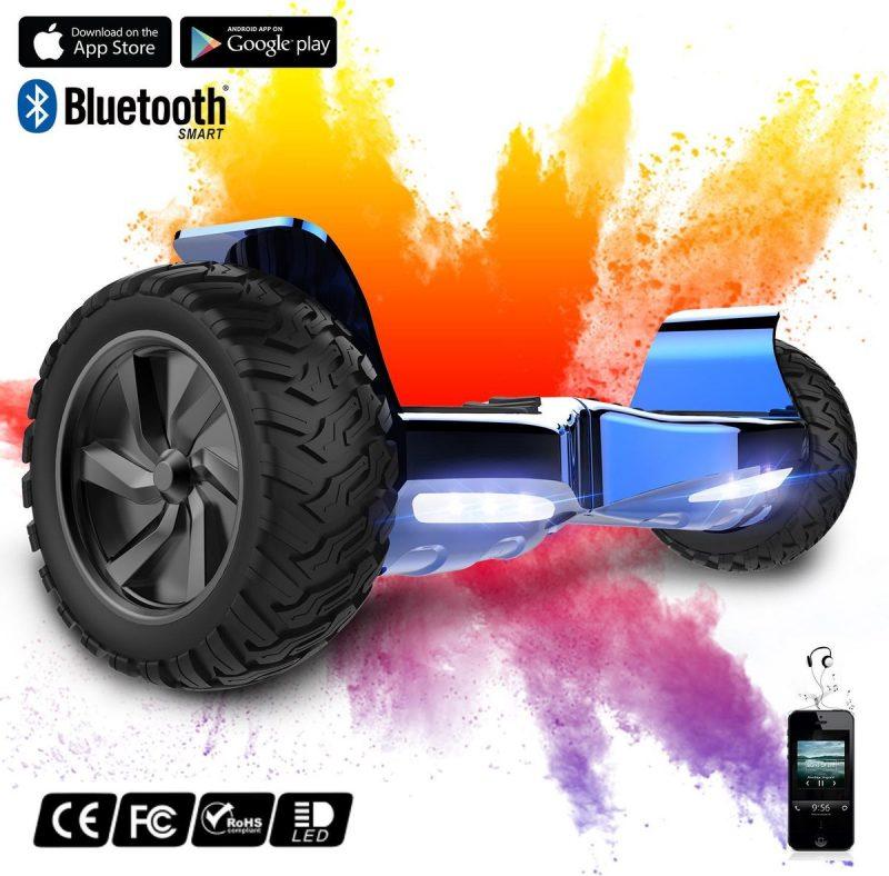 Evercross Challenger Basic 2019 Best 8.5 inch SUV Hoverboard 700W Motion V.12 Bluetooth speakers en met TAOTAO moederbord - Blauw Chroom