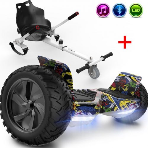 Evercross Challenger Basic Best 8.5 inch SUV Hoverboard 700W Motion V.12 Bluetooth speakers en met TAOTAO moederbord - Hiphop + Hoverkart Wit