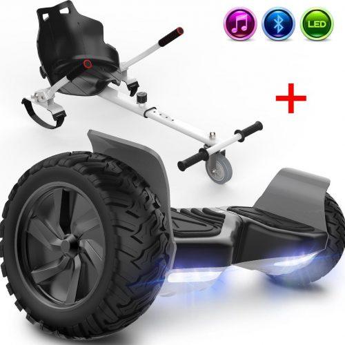 Evercross Challenger Basic Best 8.5 inch SUV Hoverboard 700W Motion V.12 Bluetooth speakers en met TAOTAO moederbord - Zwart + Hoverkart Wit
