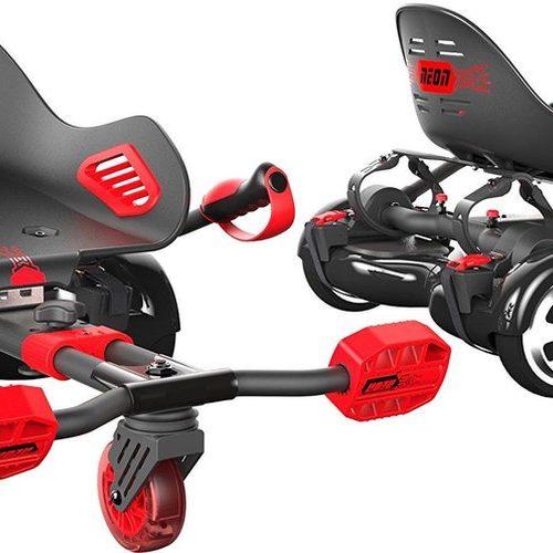 Neon Hoverkart met kuipzit - zwart & rood - max 100kg