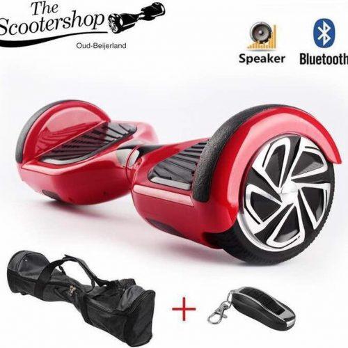 The Scootershop Hoverboard, Rood, TaoTao, Samsung, Bluetooth, Draagtas, Afstandsbediening, 1 jaar garantie