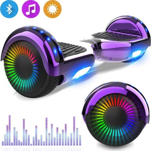 Evercross 6.5 inch Hoverboard met Flits Wielen, Elektrische Zelfbalancerende Scooter + TAOTAO moederbord,Bluetooth Speaker,LED verlichting - Paars Chroom