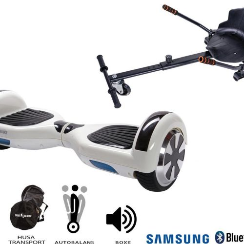 Hoverboard | 6.5 Inch Wielen | Self Balance Hoverboard met Hoverkart | Oxboard | Bluetooth Speakers | White Pearl