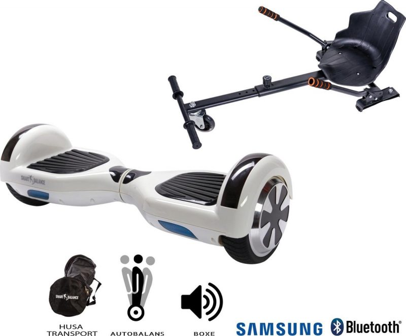 Hoverboard | 6.5 Inch Wielen | Self Balance Hoverboard met Hoverkart | Oxboard | Bluetooth Speakers | White Pearl