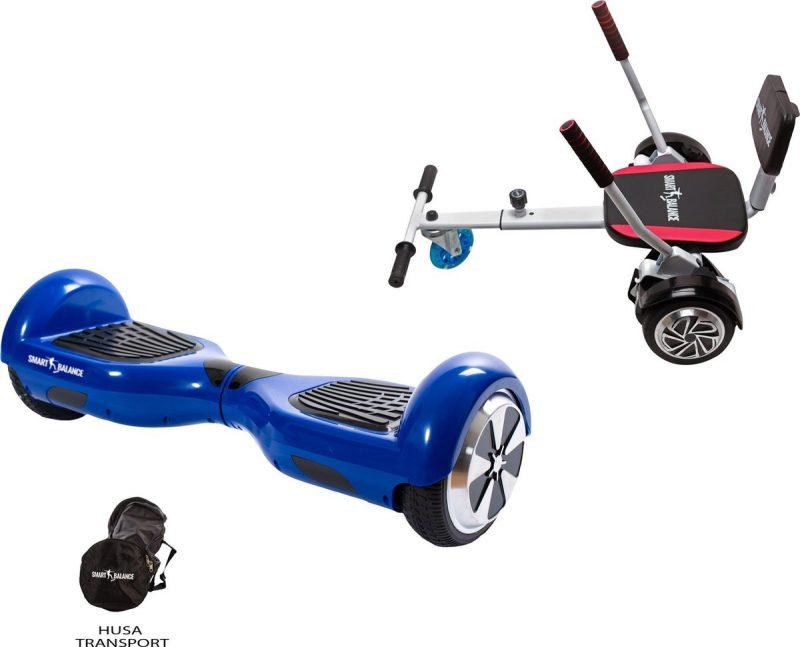 Package Smart Balance™ Hoverboard 6.5 inch, Regular Blue PowerBoard +Hoverkart met spons, motor 700 Watt