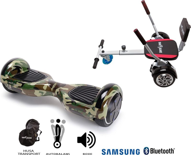 Package Smart Balance™ Hoverboard 6.5 inch, Regular Camouflage + Hoverkart met Spons, Motor 700 Wat, Bluetooth, LED