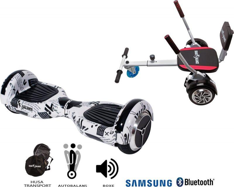 Package Smart Balance™ Hoverboard 6.5 inch, Regular News Paper +Hoverkart met spons, motor 700 Watt, bluetooth, led