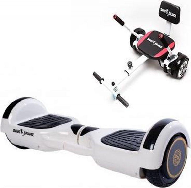 Package Smart Balance™ Hoverboard 6.5 inch, Regular White Handle +Hoverkart met spons, motor 700 Watt, bluetooth, led
